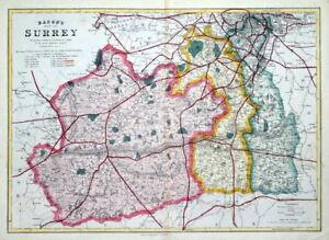 SURREY-LONDON-Railway-map-B-R-Davies-original-antique-map-1870