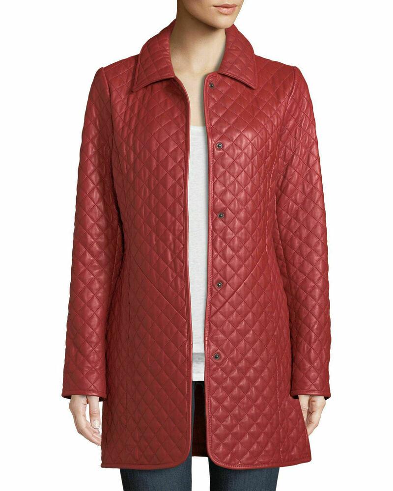 Rouge Femmes Véritable Cuir D'agneau Manteau Long Fashion Bouton Ceinture