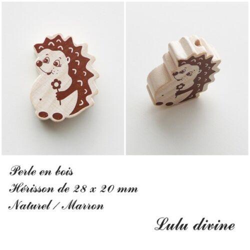 Perle en bois de 28 x 20 mm, Perle plate Hérisson : Naturel / Marron
