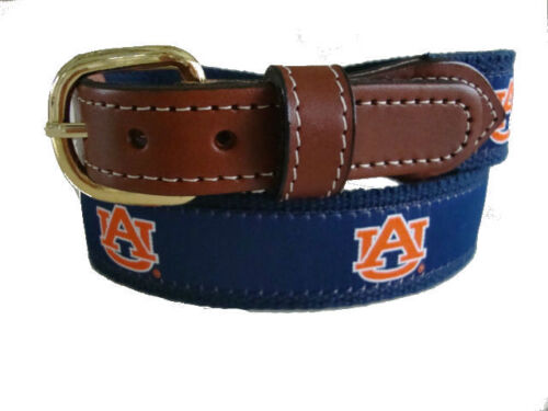 Auburn University Tigers Leather Canvas Embroidered Ribbon Belt pic your siz