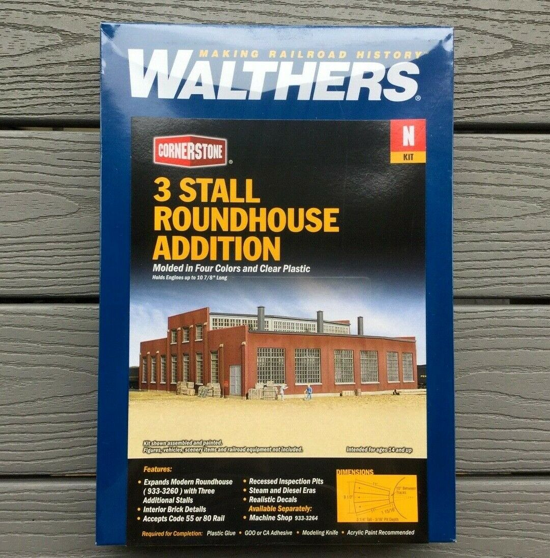 Walthers 1 160 N Scale Cornerstone 3 puesto moderno Roundhouse adición   933-3261