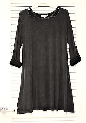 black stone wash cut-out neck roll-up slev dress S w/ anthropologie earrings