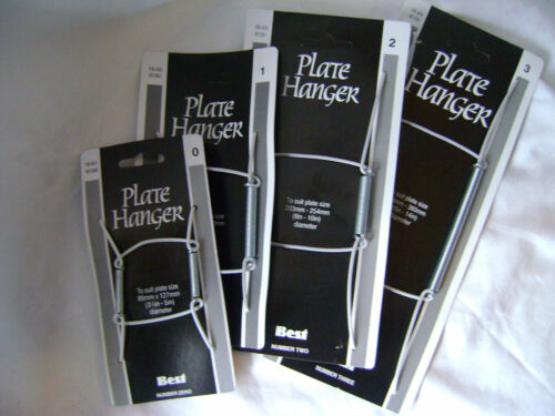 NEW 4 ASSORTED SPRING PLATE WALL HANGER HOLDER SIZES 0,1,2 /& 3
