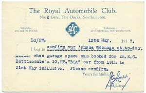 SOUTHAMPTON-RAC-Docks-1937-South-Western-Garage-Dr-EG-Battiscombe-postcard