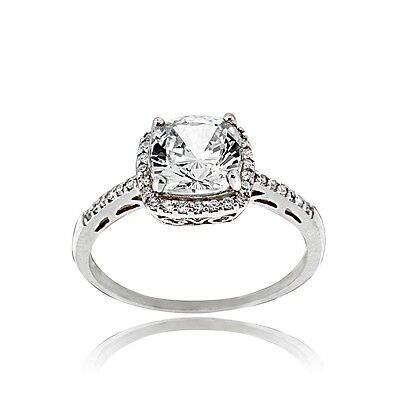 925 Sterling Silver 5.6ct CZ Square Bridal Engagement Ring