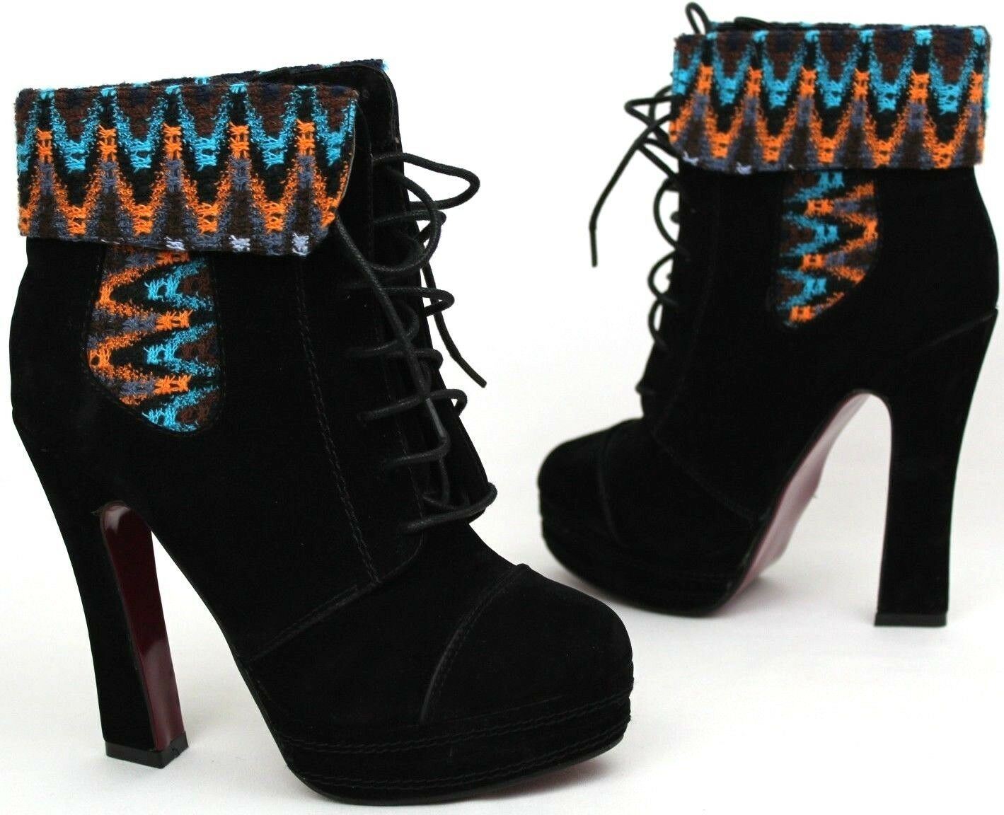 Ladies Boots UK 5 EUR 38 Black Suede Platform Ankle Lace Up Embroidered Autumn