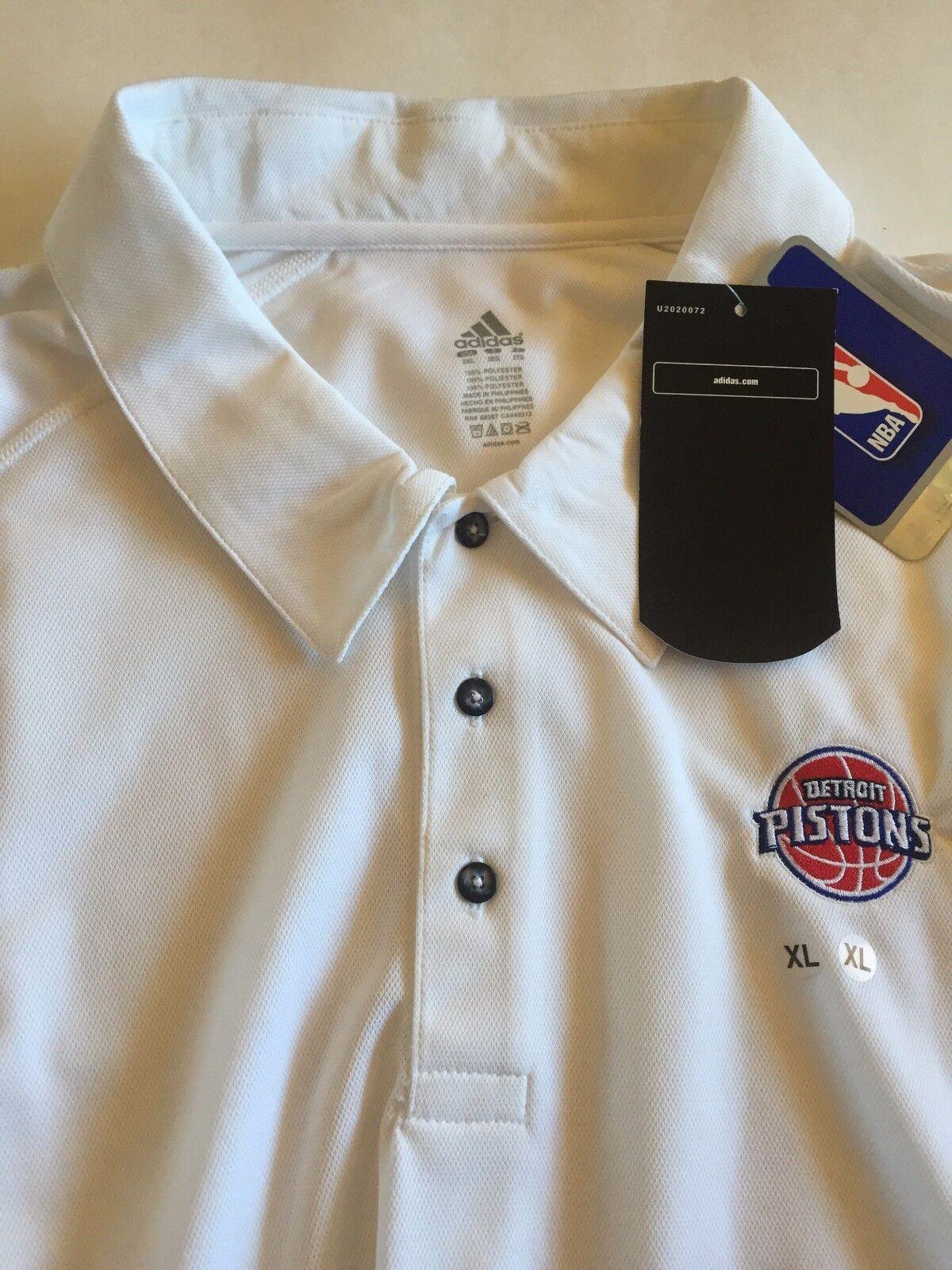 Detroit Pistons Herren Golf Polo Shirt Adidas Weiß NWT Brand New 2XL XXL NBA DET