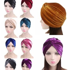 Women Indian Turban Hat Head Wrap Stretchable Chemo Cancer Pleated Hijab Cap UK