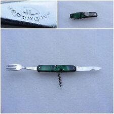 Vintage USSR COMBINED FOLDING POCKET KNIFE - CORKSCREW - FORK Celluloid Handle