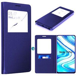 Coque Etui Housse S-View Porte carte pour Xiaomi Redmi Note 9 Pro -Bleu