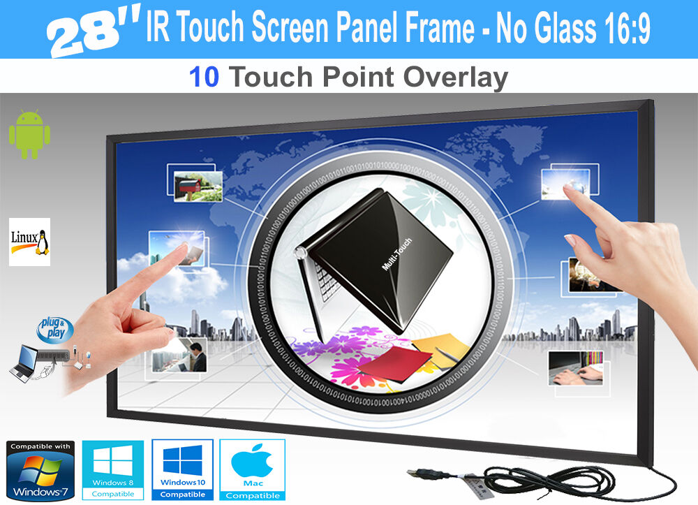 LCD LED 10 Touch IR Overlay Touch Screen Frame Panel Interactive 28  - No Glass