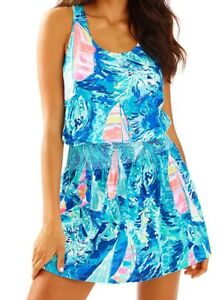 052b7d53fd42c0 Image is loading NWT-118-Lilly-Pulitzer-Tideline-Dress-Sparkling-Blue-