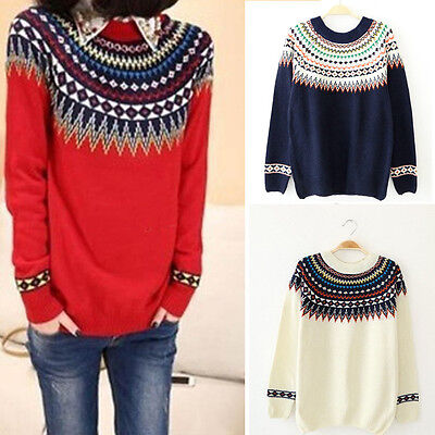 Women Casual Long Sleeve Knitted Pullover Jumper Loose Sweater Knitwear Top US