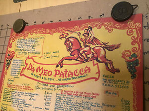 """Vintage 60s 70s Rome Italy Cafe Restaurant Menu Poster Da Meo Patacca - 32"""" Long"""