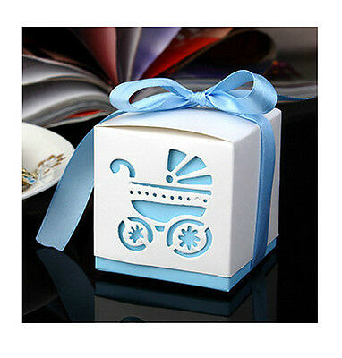 10pcs Laser Cut Carriage Gift Candy Bomboniere Boxes Party Favor Baby Shower Kid