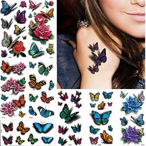 55cb76ac8e5c7 8 Sheets 3D Rose Flower Pattern Temporary Tattoo Sticker Leg Body ...