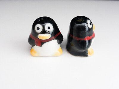 5pcs Handmade Porcelain Penguin Beads 16mm Jewellery Making