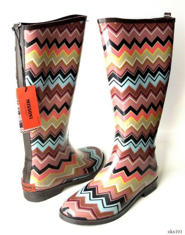 New New New MISSONI signature ZIG ZAG Chevron Stripes RAIN BOOTS - gorgeous af9a2f