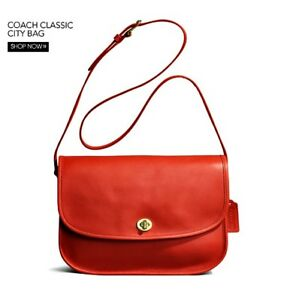 7c09c265b6923 ... black leather willis bag 9927 vintage coach crossbody flap messenger  satchel handbag clearance image is loading nwt coach classic city bag  vermillion ...