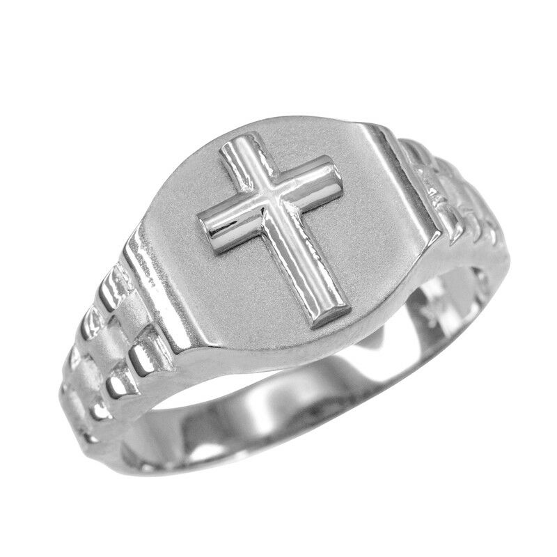 10K Mens White gold Cross Ring
