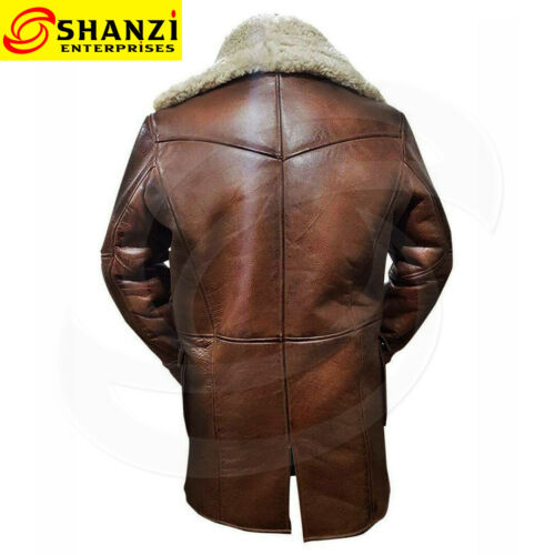 Dark Knight Rises Tom Hardy Bane real leather shearling fur trench-coat