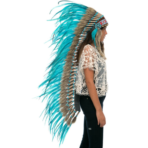 ADJUSTABLE Full Turquoise Rooster Extra Long Native American Style Headdress