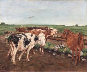 Landschaft-mit-Kuehen-Kaelbern-Signiert-Daenemark-beschaedigt-1918-38-x-46-5-cm