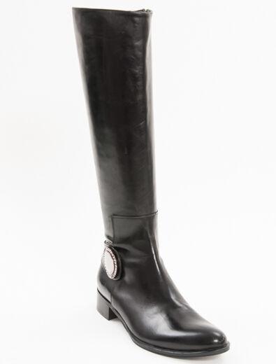 Nuevo Franco Russo Negro Cuero Hecho en Italia botas talla 37.5 EE. UU. 7.5