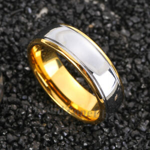 8mm-Dome-18K-Gold-Polished-Silver-Mens-Tungsten-Ring-Wedding-Band-Bridal-Jewelry