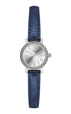 Guess Orologio Watch Woman Uhr Girl W0885L7 Stella Pelle Blu Strass Nuovo Blue