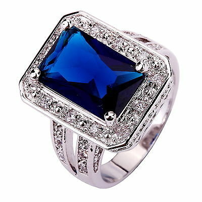 Fashion Holiday Gift Jewelry Sapphire Quartz & White Topaz Gemstone Silver Ring