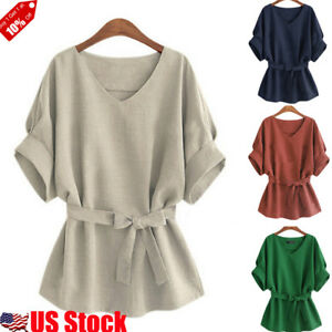 Women V Neck Cotton Linen Blouse Tunic Shirt Bow Tie Loose Batwing