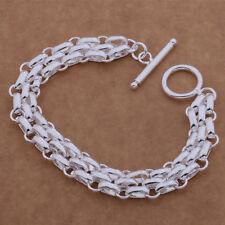 Bracelet Chain Link T-Bar Chunky Hooped 925 Sterling Silver Women's Girl's Gift