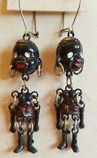 """Vintage Estate 1 1/2"""" African Blackamoor Articulated Dangle Earrings NOS ~ Red"""