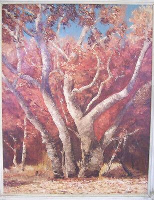 '60s MID CENTURY MOD IMPRESSIONISTIC OIL PAINTING of FALL OAK TREES SIGNED ORIG