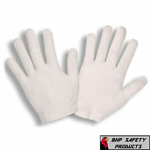 24 PAIR WHITE INSPECTION COTTON LISLE WORK GLOVES COIN JEWELRY LIGHTWEIGHT L