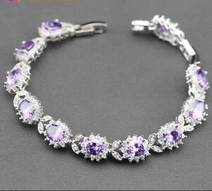 Purple-Amethyst-Flanked-Topaz-Tennis-Gemstone-Sterling-Silver-Bracelet-Bangle