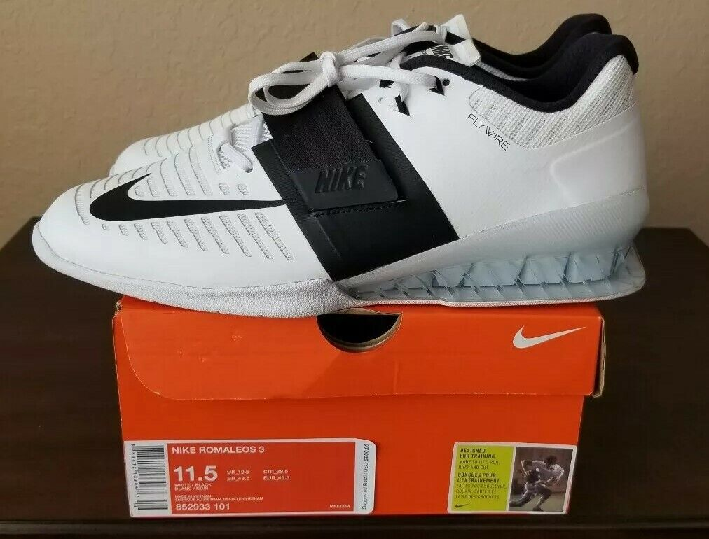 934e4a228517 Nike 3 Weightlifting Training shoes White 852933-101 Men s 11.5 Romaleos  Black nndsnf7210-Athletic Shoes