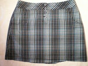 Cutter-amp-Buck-Size-12-Teal-Blue-Plaid-Stretch-Golf-Skort-Skirt-Shorts