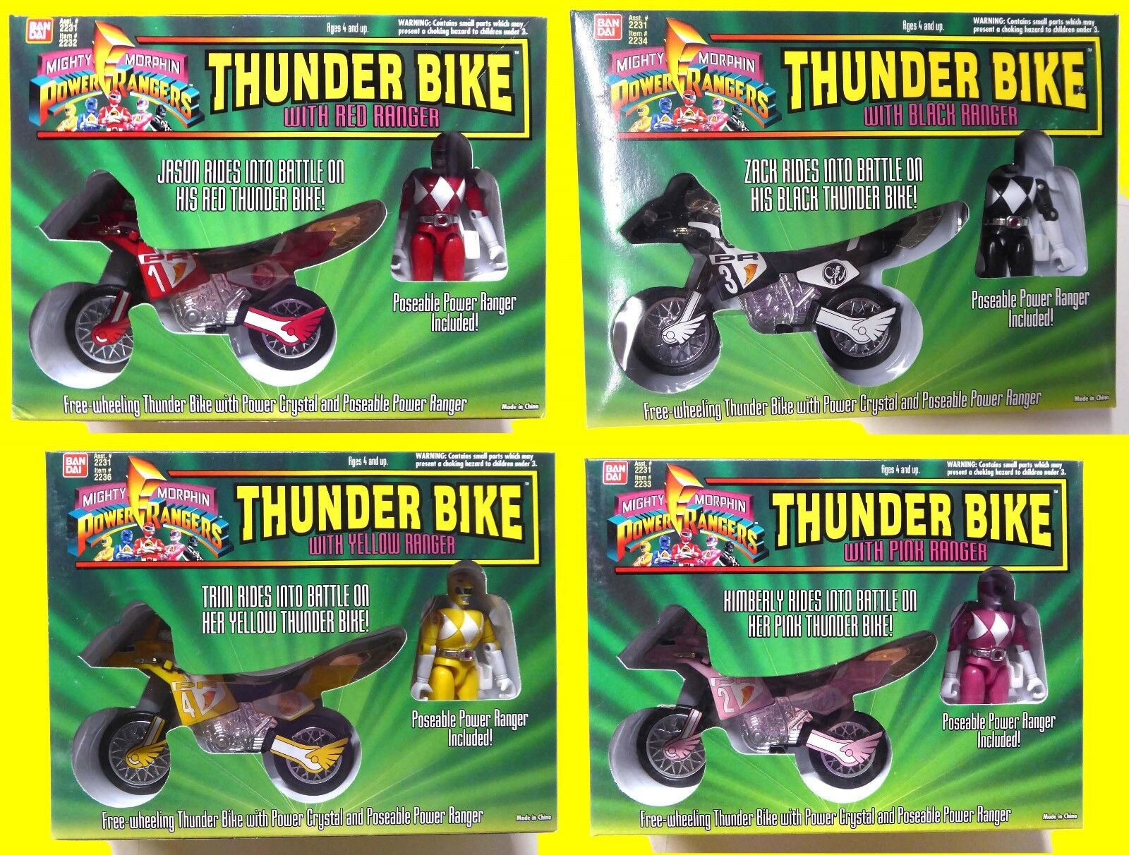 Power Rangers Thunder Bike Set of 4 Jason Zach Trini Kimberly Bandai 1994Morphin