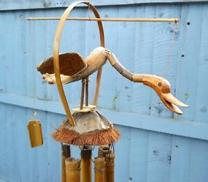 GRANDE IN LEGNO BAMBOO Stick /& Cocco Bird Gong Windchime mobile 60 cm