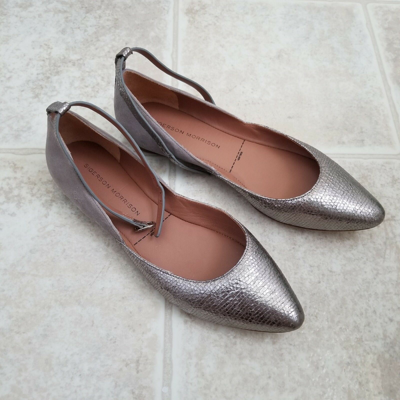 NWOT Sigerson Morrison HAIDYA leather beautiful silver leather HAIDYA and grey suede flats 6.5 c2b6a0
