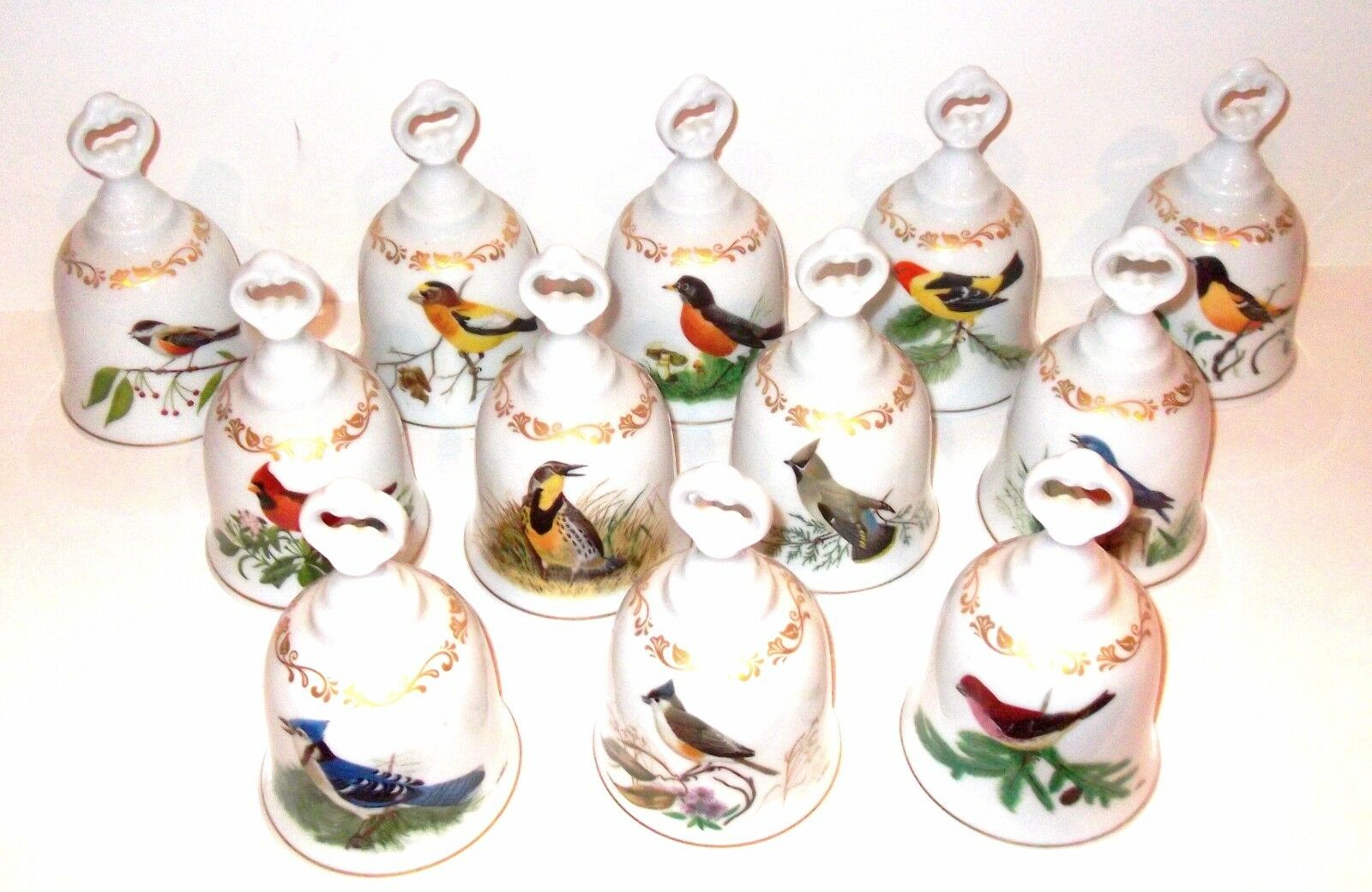 80's Danbury Mint Songbirds of America Bells 12 Set Porcelain W. Germany Birds