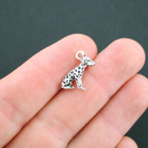 25 Dog Charms Animal Dalmatian Dog Lover Charm Antique Silver Tone 10x17 1994
