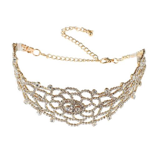 Frauen Mädchen breite Strass Choker Halskette Blume Halskette Kette Schmuck
