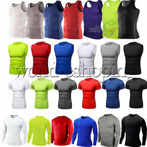 Mens-Compression-Fitness-Shirt-Base-Layer-Tight-Tops-Sport-T-Shirt-Athletic-Vest
