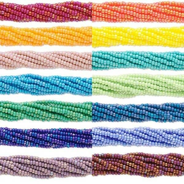 11/0 Czech Seed Beads, 1 Hank Small Glass Spacers in Rainbow AB Opaque Colors