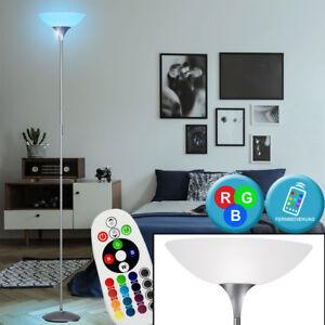 RGB-LED-Decken-Fluter-Buero-Stand-Steh-Lampe-titan-FERNBEDIENUNG-Leuchte-DIMMBAR