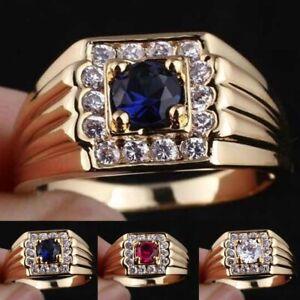 Herren-Damen-Gold-Rubin-Ring-Band-Fingerring-Verlobungsring-Hochzeit-Schmuck