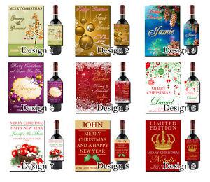 Personalised-Christmas-Wine-Bottle-Label-Work-Teacher-Xmas-Friend-Nan-Grandad